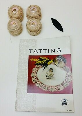 Vintage Lace TATTING Patterns BOOK with SHUTTLE and THREAD Hanky Edge Doilies