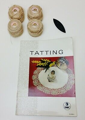 Vintage TATTING Patterns Book with SHUTTLE and Threads Lace Hanky Edge Making