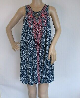 f613a95598d Flying Tomato Med Sleeveless Dress Embroidered Lace Up Front Blue Geometric