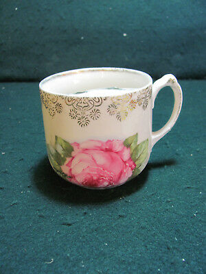Vintage Mustache Cup W/Rose Pattern Ornate Accents