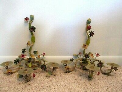 Pair Vintage Tole Painted Flower 3 Arm Metal Candelabra Shabby Wall Sconce Set