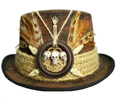 a6410ac150640 Brown Felt Top Hat Voodoo Skulls Witch Doctor Steampunk Topper Cosplay Wild