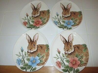 Set of 4 Gorgeous Easter Bunny Rabbit Ceramic Oval Plates w/Blue, Pink Flowers
