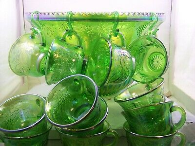 Indiana Glass Princess Green Carnival Glass Punch Bowl Set 11 Cups Iridescent