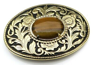 Tigers Eye Stone Western Style Vintage Belt Buckle
