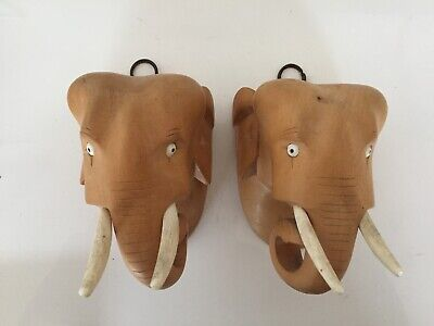 Pair of Vintage Carved wooden elephant heads - wall hanging art