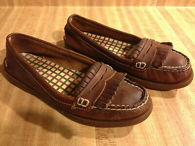 1f61eb671aa Sperry Top Sider Avery Brown Leather Kiltie Penny Loafers Boat Shoes Womens  6.5M
