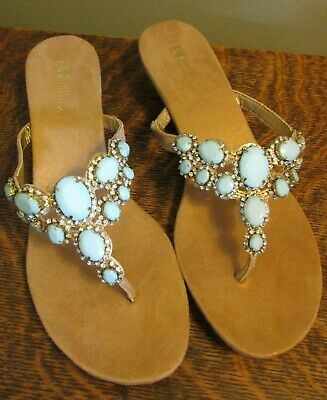 c8a187e4fc0 NEW WHITE MOUNTAIN ABLAZE JEWELED LEATHER WEDGE HEEL THONG SANDALS ...
