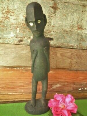 Vintage Tribal Figurine Cowrie Shell Eyes Black Wooden Primitive African? Papua?