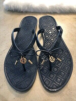 7331fef63 Tory Burch Jelly Bow Logo-Charm Thong Navy Sandals Size 9 M