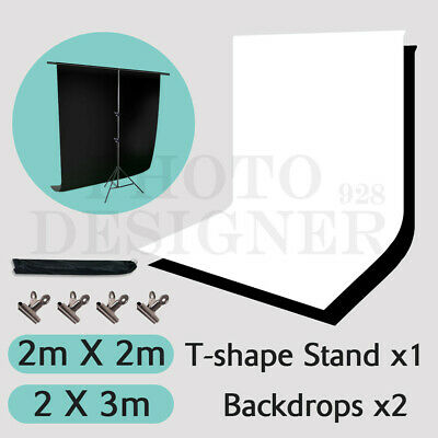 Photography Studio 2x3M Black White Backdrop+T Type Background Support Stand Kit