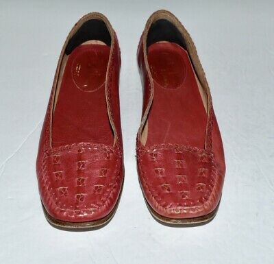 1f01ffb83b2 Cole Haan Women s Red Leather Loafers 8.5 Moccasin Toe Braiding Made In  Italy