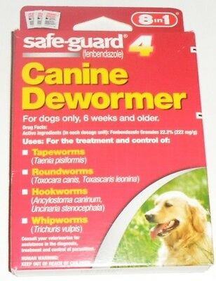 8 In 1 Safe Guard Canine Dewormer for Large Dogs 4-Gram 3 Pouches per Pack 7/19