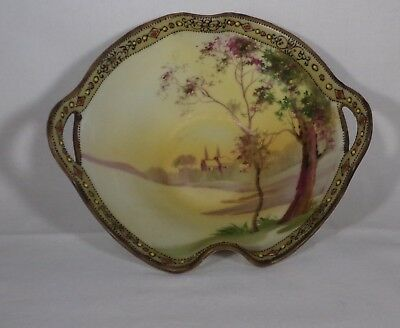 Oriental Hand Painted Open Handled Bowl Nippon Moriage Edge  Church & Tree -