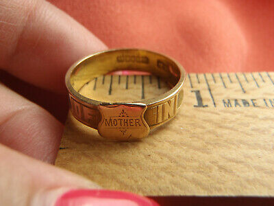 ANTIQUE VICTORIAN ENGLISH 15CT GOLD MEMORY MOURNING BAND RING c1800s SIZE 8 1/2