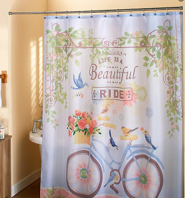 Cherry tree and bicycle Shower Curtain Bathroom Decor Fabric /& 12hooks 71*71inch