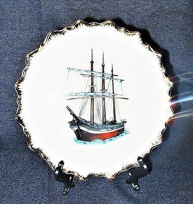 "Norleans China 7"" 3 Masted Gulet Ship Display Plate Scalloped Gilt Rim Japan EUC"