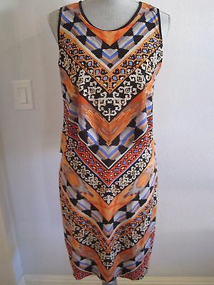 NWT BEIGE BY ECI SMALL Orange Multi Color Geometric Sleeveless Dress MSRP $79.