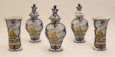 RARE antique dutch Mantle garniture Set 5 Pottery Delft polychrome Vases