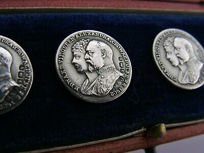 Rare Coronation Solid Silver Buttons 1901 Edwardian English Antiques Edward Vii