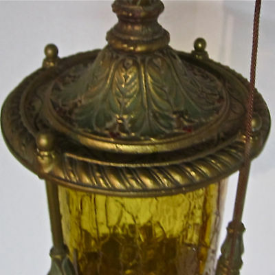 Very Heavy Old Hand Painted Brass/Bronze? Amber Glass Light Fixture•Bauble Pull