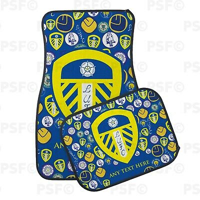 Official LUFC Personalised Car Mats Set of 4 Printed Mini Crests Leeds United FC