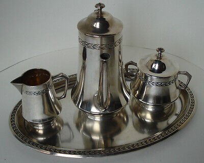 Beautiful Antique Wmf Art Nouveau Coffee Set With Creamer, Sugar Bowl + Waiter