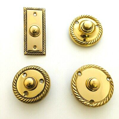 Solid Polished Brass Georgian Door Bell Chime Push Button Press