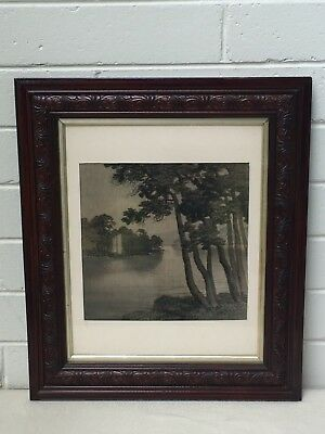 Beautiful Antique Frame w Charcoal River Scene!