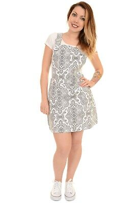 Ladies Run & Fly Retro Indie White Stretch Twill Paisley Print Pinafore