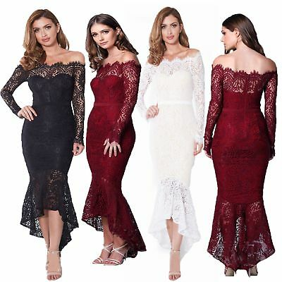 Womens Bodycon One Shoulder Lace Dress Ladies Party Evening Long Dress Size 6-16