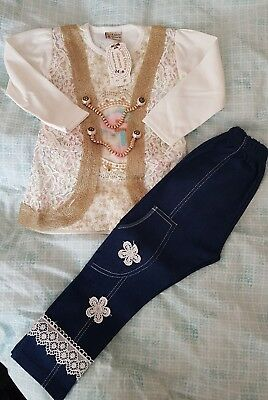 girls top and jeans set 3-4 years
