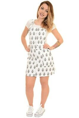 Ladies Run & Fly Retro Indie White Stretch Twill Hand of Fatima Pinafore Dress