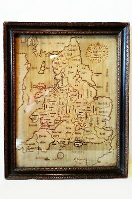 Gorgeous framed Georgian Counties England and Wales Map Sampler