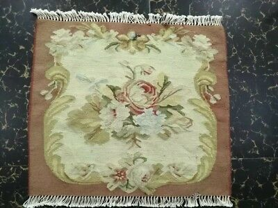 """Antique 19th century Aubusson French hand woven table size 18""""x18 cm46x46excell"""
