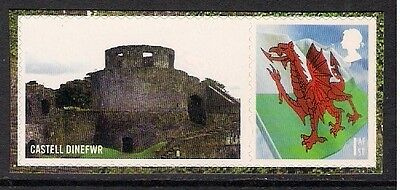 GB 2010 LS71 Castles Of Wales Smiler Sheet Single Stamp Litho s/a MNH