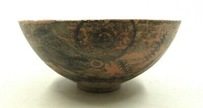 Authentic Ancient Indus Valley Terracotta Bowl W/ Bull  - L485