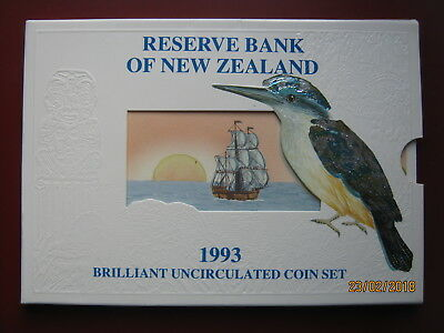 New Zealand 1993 BUNC 6 Coin Collection Set 5 Cents - $2 Dollars Kingfisher