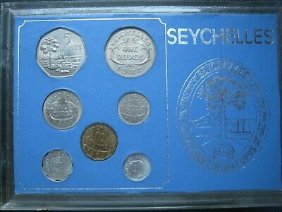 Seychelles coinage set of 7 coins: 1 Cent - 5 Rupees 1972 UNC cased