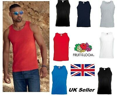 Fruit of the Loom MENS Plain VEST Athletic Tank Top 100% COTTON small to 5XL