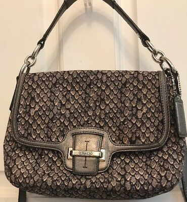 c074170451d1 Coach Taylor Python Snake Fabric Flap Crossbody/Shoulder Bag~Carry Handle /Strap