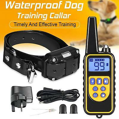 New IP68 Pet Dog Training Collar Rechargeable Electric Shock LCD Anti-bark