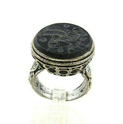Authentic Post Medieval Silver Ring W/  Stone Intaglio Bird - Wearable - J919