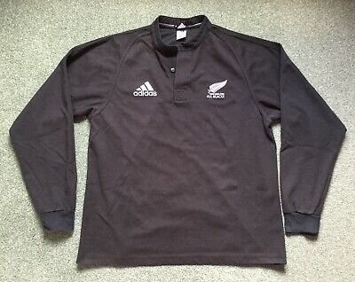 2908fbfb05d Rare Vintage New Zealand All Blacks Rugby Union Shirt Jersey Adidas Long  Sleeved