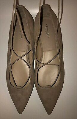 2495ae27c5f New Michael Kors Flat Suede Lace Balerina Shoes In Beige 38 8
