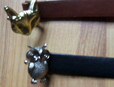 2 girl children belt with owl and fox buckle