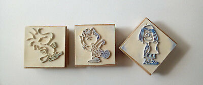 Peanuts Wood Stamps Peppermint Patty, Sally Brown & Woodstock (wooden)