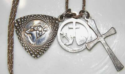 3 Vintage Sterling Silver Holy Medal Cross Charms & Chain St. Christopher 9grams