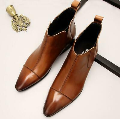 93381bb40 Men Pointed Toe Ankle Boots Cuban Heel Real Leather Business Shoes Chelsea  Boots
