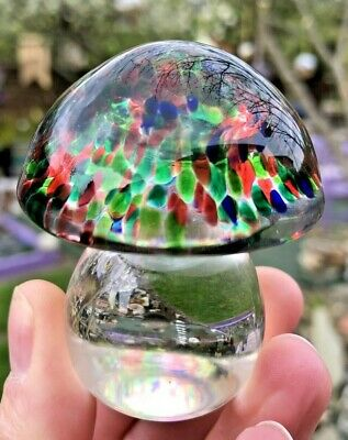 Glass Small Mushroom Paperweight Mixed Colours Red Blue Green Crystal Clear Stem